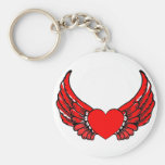 Corazones de alas rojas llavero personalizado