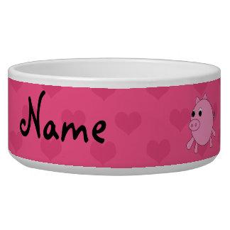 Corazones de cerdo rosados conocidos comedero para mascota