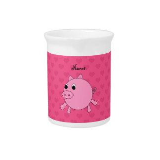 Corazones de cerdo rosados conocidos jarra de beber