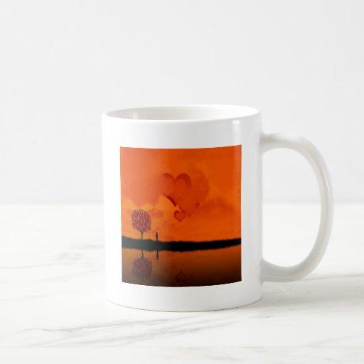 Corazones de color rojo oscuro frescos abstractos taza de café