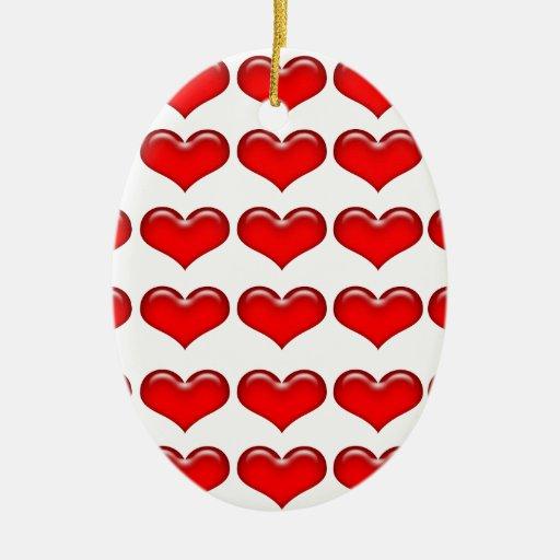 Corazones de cristal rojos de la tarjeta del día adorno navideño ovalado de cerámica