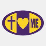 Corazones de Jesús yo Colcomanias Oval Personalizadas