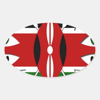 Corazones de Kenia Pegatina Ovalada