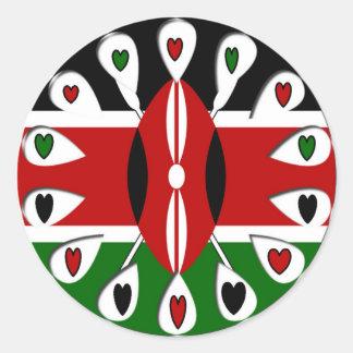 Corazones de Kenia Pegatina Redonda