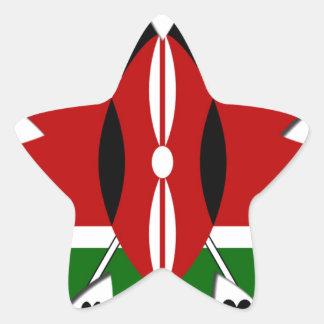 Corazones de Kenia Pegatina En Forma De Estrella