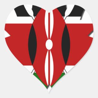 Corazones de Kenia Pegatina En Forma De Corazón