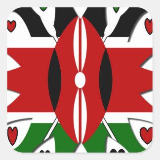 Corazones de Kenia Pegatina Cuadrada