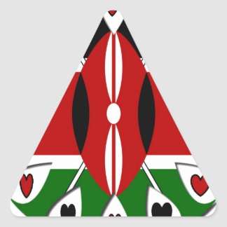 Corazones de Kenia Pegatina Triangular