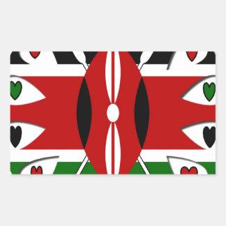 Corazones de Kenia Pegatina Rectangular