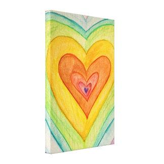 Corazones de la amistad del arco iris que pintan lona estirada galerías