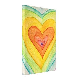 Corazones de la amistad del arco iris que pintan impresiones en lona estiradas