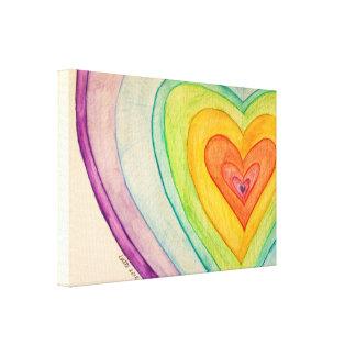 Corazones de la amistad del arco iris que pintan impresión en lona