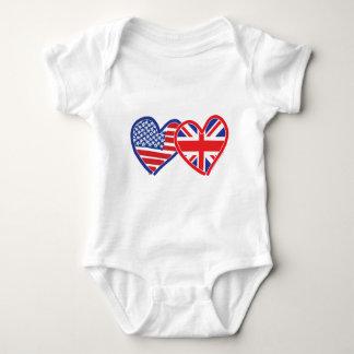 Corazones de la bandera americana/de la bandera de body para bebé