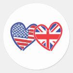 Corazones de la bandera americana/de la bandera de etiqueta redonda