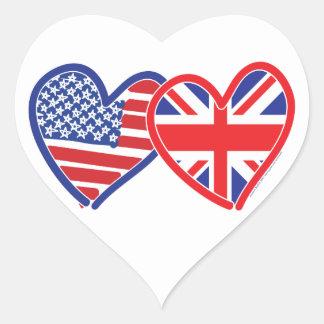 Corazones de la bandera americana/de la bandera de pegatina en forma de corazón
