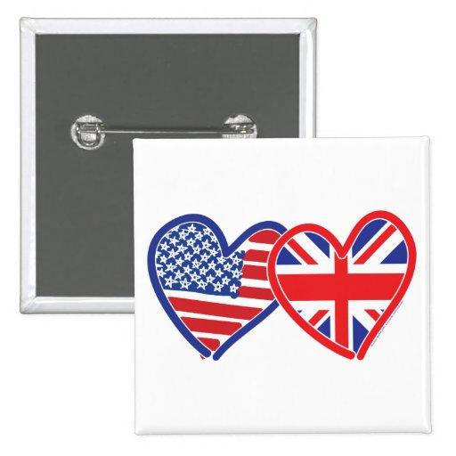 Corazones de la bandera americana/de la bandera de pin cuadrada 5 cm