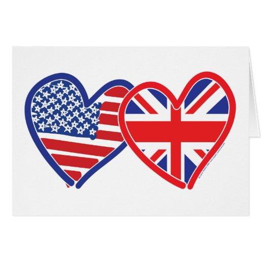 Corazones de la bandera americana/de la bandera de tarjeta de felicitación