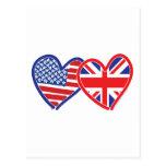 Corazones de la bandera americana/de la bandera de tarjetas postales