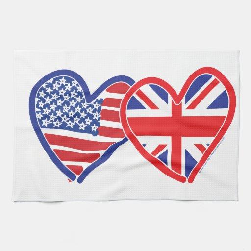 Corazones de la bandera de Union Jack de la bander Toallas De Mano