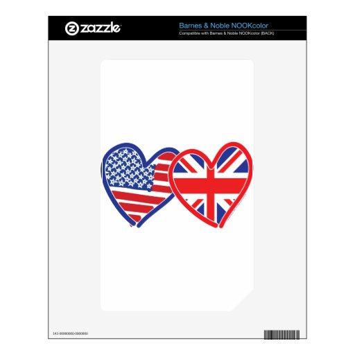Corazones de la bandera de Union Jack de la bander NOOK Color Skin