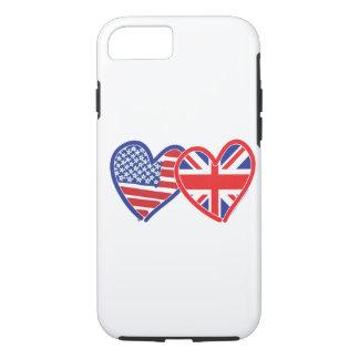 Corazones de la bandera de Union Jack de la Funda iPhone 7