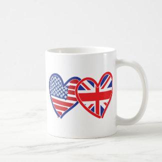 Corazones de la bandera de Union Jack de la Taza De Café