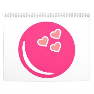 Corazones de la bola de bolos calendario de pared