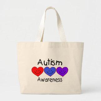 Corazones de la conciencia del autismo bolsa lienzo