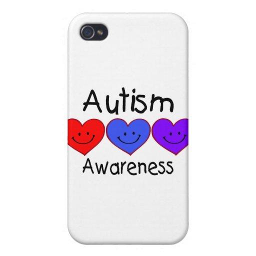 Corazones de la conciencia del autismo iPhone 4/4S fundas