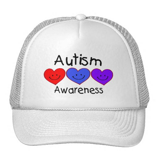 Corazones de la conciencia del autismo gorras de camionero