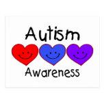 Corazones de la conciencia del autismo tarjeta postal