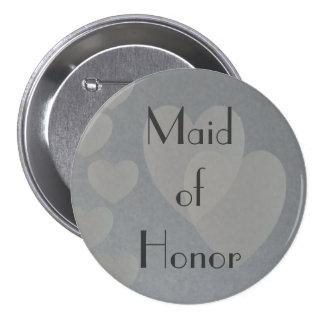 Corazones de la criada de plata del botón del hono pin redondo de 3 pulgadas