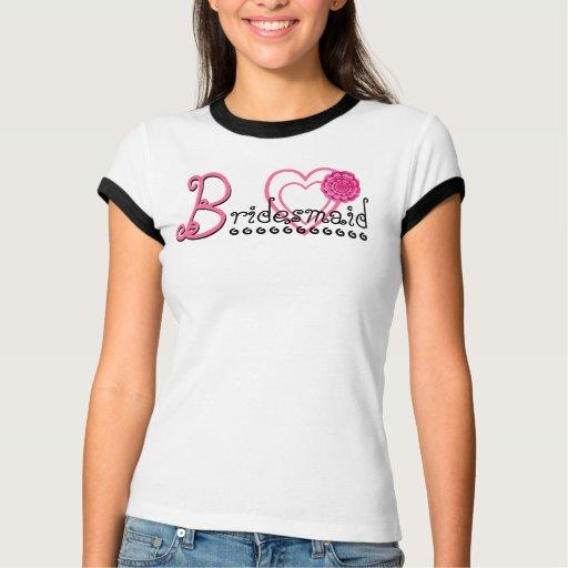 Corazones de la DAMA DE HONOR y camiseta lindos de Remeras