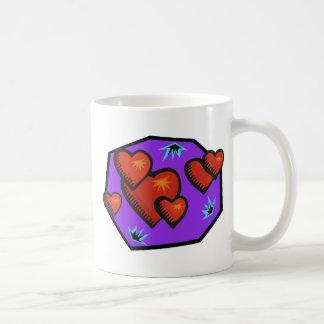 Corazones de la explosión del amor taza de café