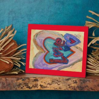 Corazones de la familia del amor que pintan la placas con fotos