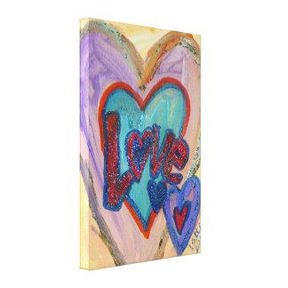 Corazones de la familia del amor que pintan las impresión en lienzo