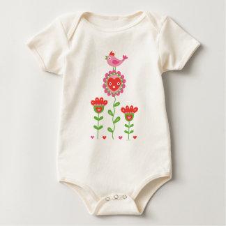 Corazones de la flor y enredadera felices del bebé body de bebé