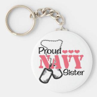 Corazones de la hermana de la marina de guerra llavero redondo tipo pin