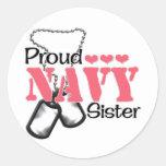 Corazones de la hermana de la marina de guerra pegatinas redondas