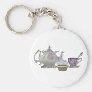 Corazones de la magdalena de la lila, tetera y art llaveros
