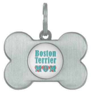 Corazones de la mamá de Boston Terrier Placa De Nombre De Mascota
