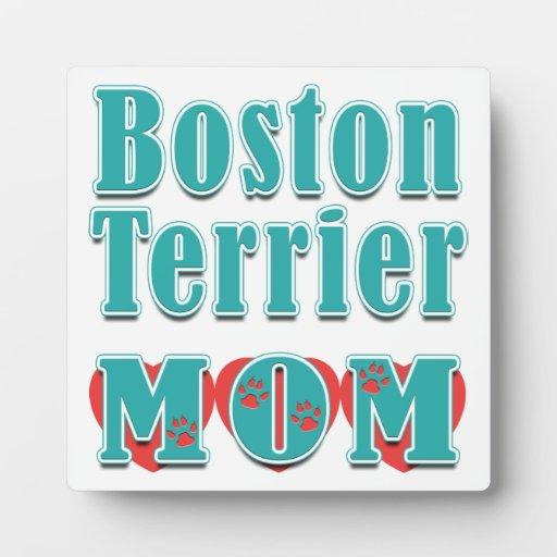 Corazones de la mamá de Boston Terrier Placas