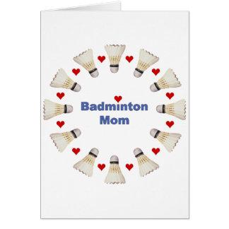 Corazones de la mamá del bádminton tarjeta de felicitación