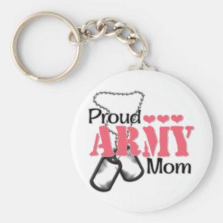 Corazones de la mamá del ejército llavero redondo tipo pin