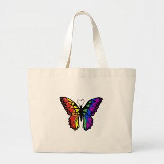 corazones de la mariposa del arco iris bolsa tela grande