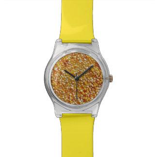 Corazones de la palomitas de maíz relojes de pulsera