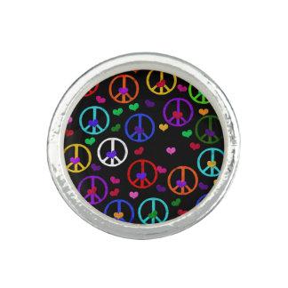 Corazones de la paz del arco iris anillos con foto