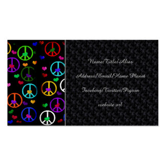 Corazones de la paz del arco iris tarjetas de visita