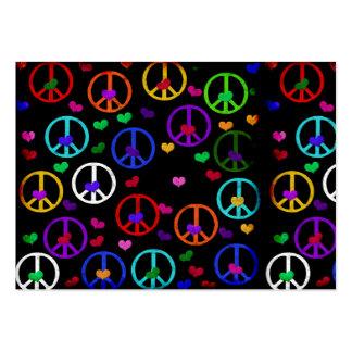 Corazones de la paz del arco iris tarjetas de visita grandes
