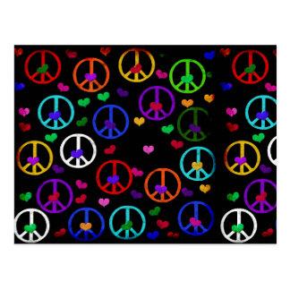 Corazones de la paz del arco iris postales